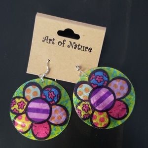 NWT ART OF NATURE CIRCULAR BRIGHT DANGLE EARRINGS